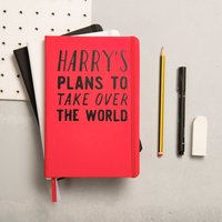 Personalised Plans To Take Over The World Notebook, Black/White/Blue