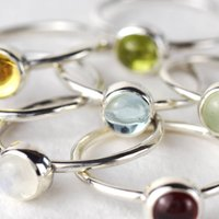 Vibrant Sterling Silver Gemstone Stacking Ring, Silver