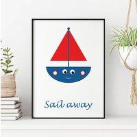 Sail Away Sailing Boat Print