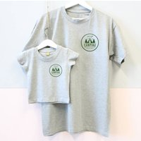 Father And Child Matching Camping T Shirts, Grey/White/Black