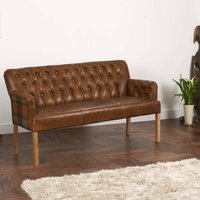 Vintage Leather Curved Arm Sofa Bench Choice Of Sizes, Brown/Grey/Black