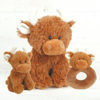 Brown Cow Baby Set, Small + Mini Toy + Rattle + Boxed
