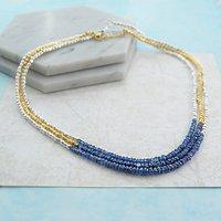 Genuine Raw Blue Sapphire Birthstone Necklace, Blue