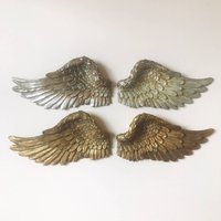 Hanging Angel Wings, Gold/Silver/Cream
