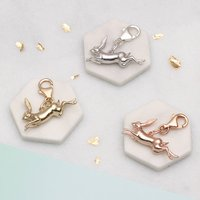 Sterling Silver Or 18ct Gold Clip On Hare Charm, Silver