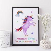 Unicorn Gift Girls Bedroom Print