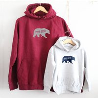 Papa Bear And Baby Bear Hoodie Set, Navy/Burgundy/Grey