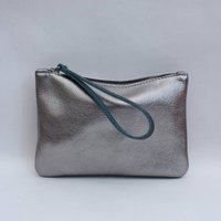 Suede Pouch With Wristlet, Grey/Olive/Black