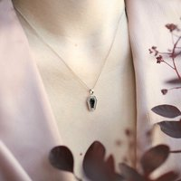 Onyx Coffin Pendant Necklace Sterling Silver, Silver