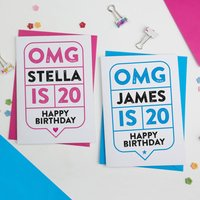 Omg 20th Birthday Card Personalised, Pink/Blue