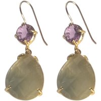 Gold Purple Amethyst And Chalcedony Drop Earrings, Gold