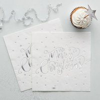 Metallic Silver Foiled Merry Christmas Napkins