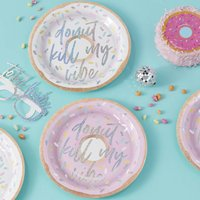 Iridescent Foiled Donut Kill My Vibe Party Paper Plates