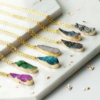 Long Teardrop Druzy Agate Necklaces, Blue/Green/Pink