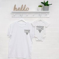 Legend Father And Son T Shirt And Babygrow Set, White/Black/Grey