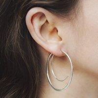 Silver Spiral Statement Hoop Earrings, Silver