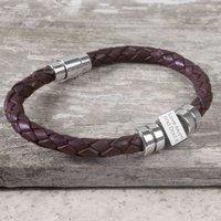 Personalised Birthday Leather Bracelet For Teenagers, Black/Brown