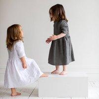 Charcoal Linen Girls Dress