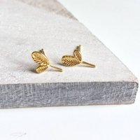 Gold Leaf Stud Earrings, Gold