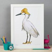 Little Egret In A Sou'wester Birds In Hats Print