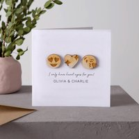 Couple's Emojis Wooden Keepsake Card