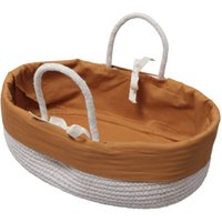Organic Cotton Doll Rope Basket In Ochre
