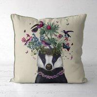 Woodland Badger Decorative Cushion