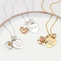 Personalised 18ct Gold And Silver Birth Flower Necklace, Silver
