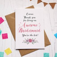 Personalised Awesome Bridesmaid Thank You Card