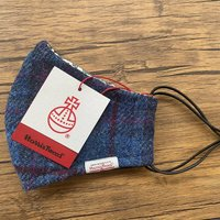 Blue And Magenta Check Harris Tweed Face Mask