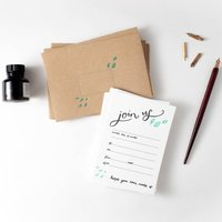 Join Us Set Of 10 Letterpress Invites