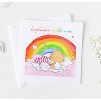 New Baby Card For Rainbow Baby, Christening Card ..4v1a