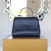 Leather Top Handle Handbag, Navy Blue