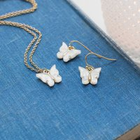White Butterfly Necklace And Earrings
