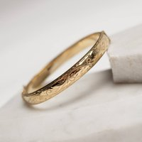 Hand Engraved Vintage Style Rolled Gold Bangle, Gold