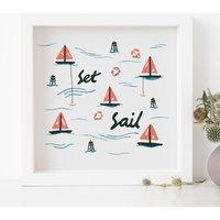 Personalised Set Sail Illustrated Print