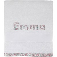 Personalised Liberty Print Bath Towel, Pink/Blue