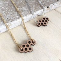 Wooden Honeycomb Necklace, Gold/Silver
