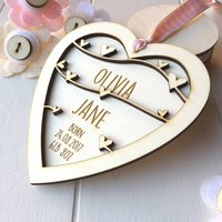 Personalised New Baby Girl Keepsake Heart, White/Baby Pink/Pink