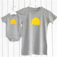 Mother And Baby Elephant T Shirt Set, Yellow/White/Grey