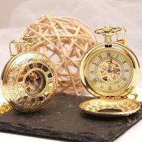 Roman Numeral Golden Pocket Watch, Gold