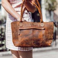 Leather Handbag, Brown