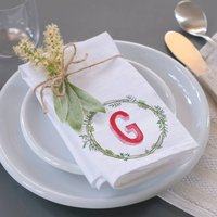 Personalised Pink Initial Wreath Napkin