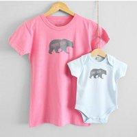 Mama Bear And Baby Bear T Shirt Set, Pink/Magenta/White