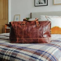 Leather Travel Holdall Bag, Brown