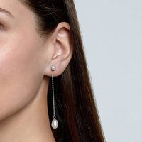 Sterling Silver Saphira Earrings With Freshwater Pearls, Silver