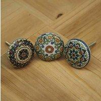 Set Of Three Ceramic Knobs