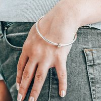 Que Sera Worry Bead Silver And Recycled Gold Bangle, Silver