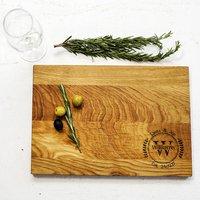Laurel Wreath Personalised Oak Cutting Board