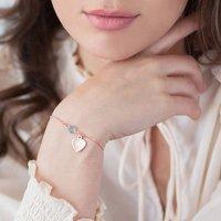 Rose Gold Slider Birthstone Bracelet With Heart Charm, Gold